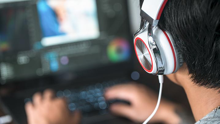 Edit suite headphones stock photo