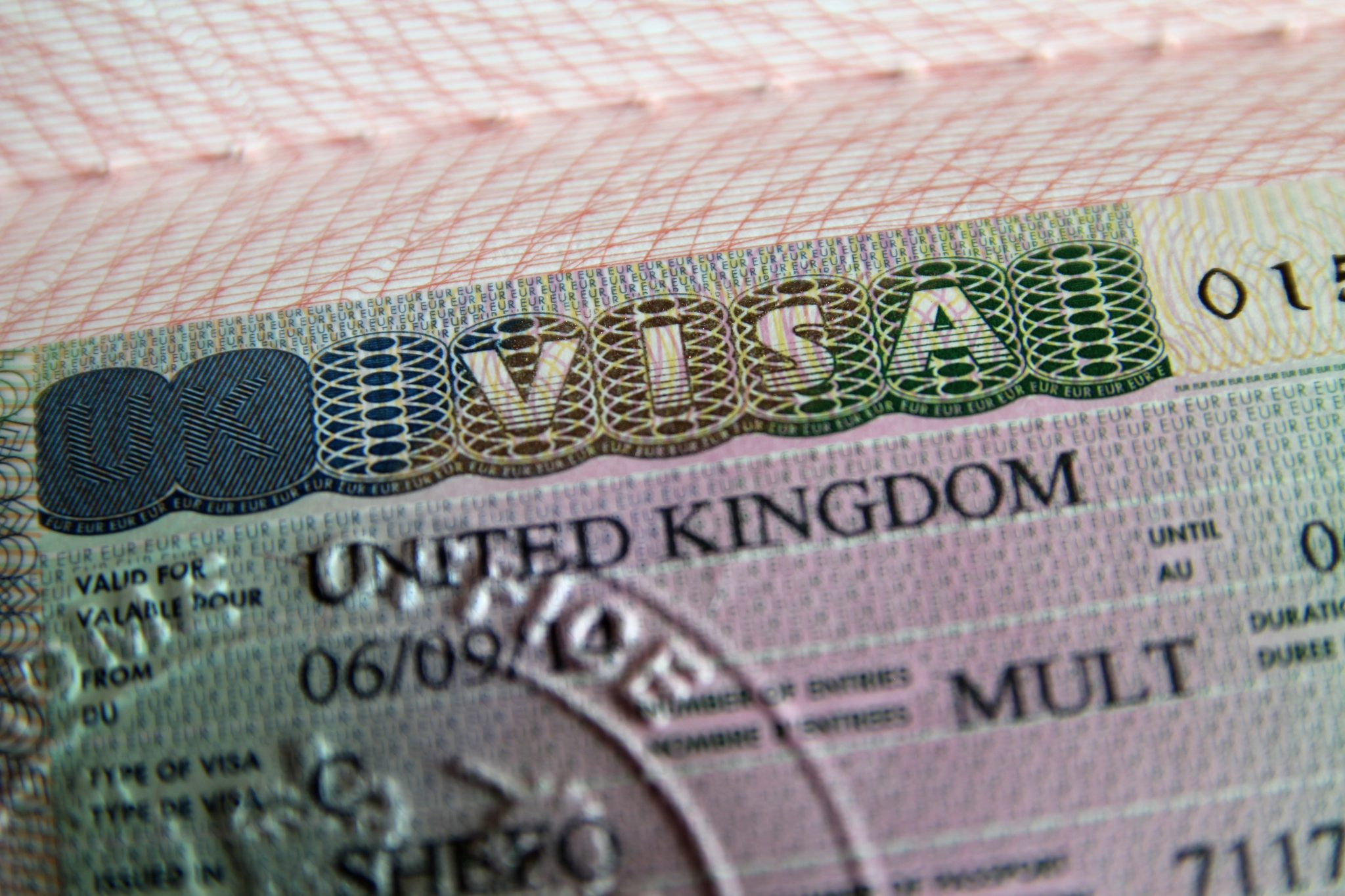 United Kingdom visa in passport